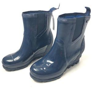 b44c0f1e34b Sorel Shoes - SOREL Joan Rain Wedge Chelsea Gloss Boots 9 Blue